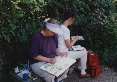 Two watercolorists in Monet's garden